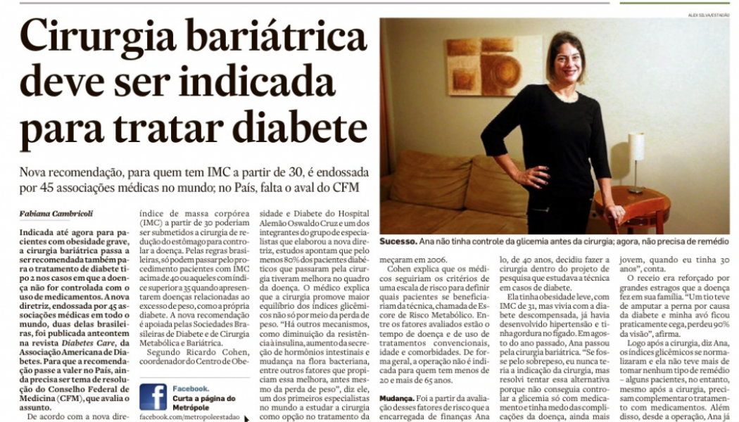 Grande mídia destaca recomendação de cirurgia metabólica como opção ao tratamento de diabetes tipo 2