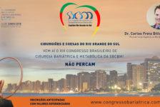 CONVITE PARA O XIX CONGRESSO DA SBCBM – Dr. Carlos Frota Dillemburg, Presidente do Capítulo RIO GRANDE DO SUL