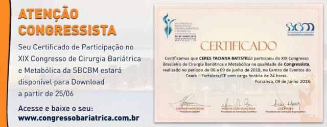 Os certificados estarão disponiveis para download a partir de 25/06
