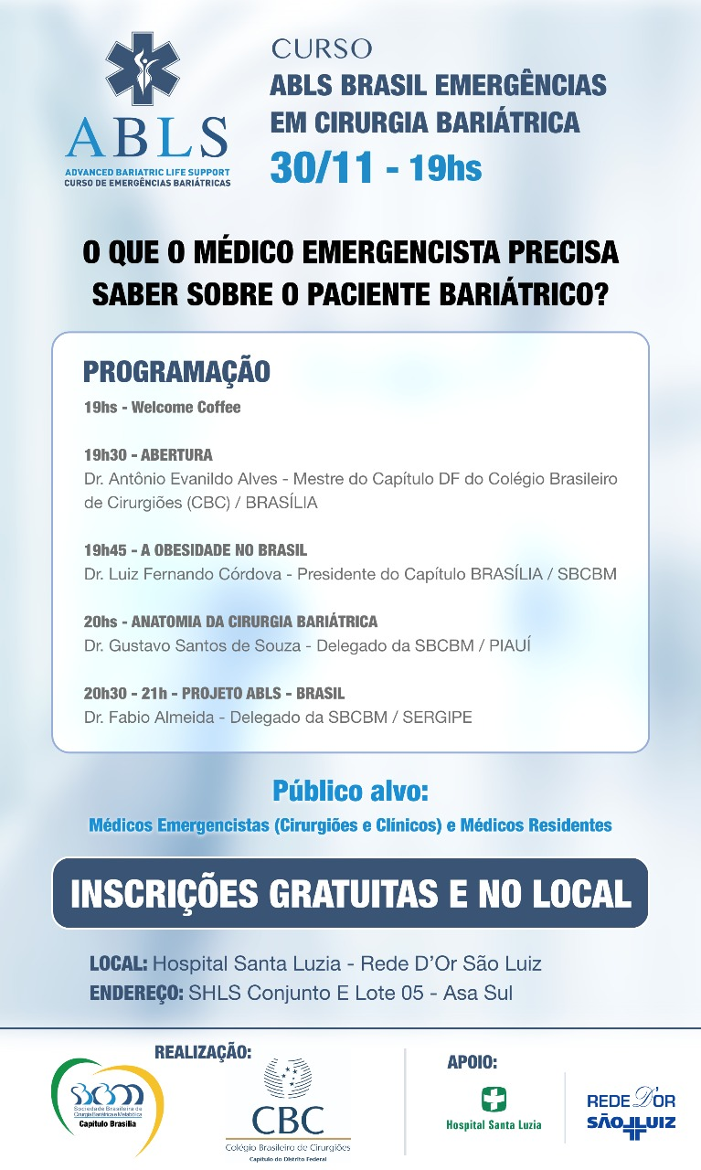 Capítulo Brasília da SBCBM e CBC promovem curso de emergências em cirurgia bariátrica gratuito